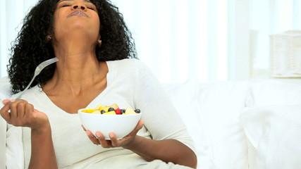 Beautiful Female Enjoying Health Benefits Fresh Fruit