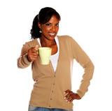 Adult woman giving you a mug poster
