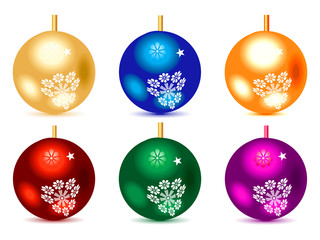 abstract multiple colorful christmas balls