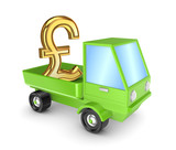 Golden pound sterling sign in a green truck.