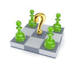 Green pawns around golden query mark.