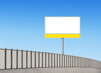 Blank traffic sign and noise barrier fence on the highway