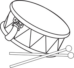 Toy drum and drumsticks. Vector