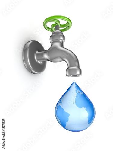 Iron tap and stylized drop.