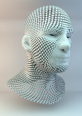 Human Head made of Cubes