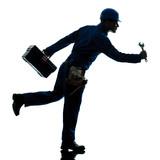 repair man worker running urgency silhouette poster