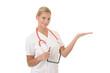 Blonde Ärztin präsentiert ein imaginäres Produkt
