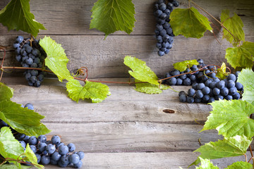 Grapes with green leaves on vintage wooden boards background
