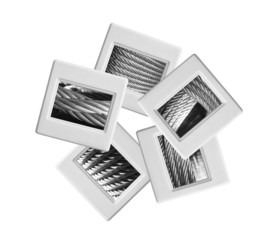 Industrial slides on white background