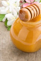 honey in glass jar and stick