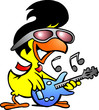 illustration of an smart chicken playing on guitar