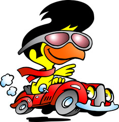 illustration of an smart chicken driving a sports car