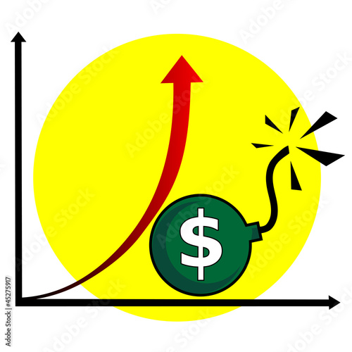 Rising dollar - vector illustration