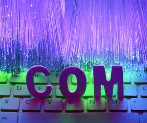 Fiber optics background with com