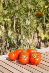 Fresh organic tomatoes on a teak table