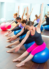 Aerobic Pilates women group with stability ball
