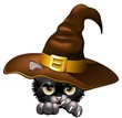 Halloween Kitten Witch Cartoon Gattino Cappello Strega