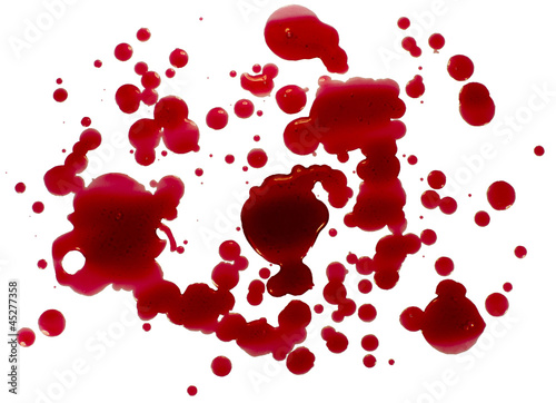 Glossy blood (red paint) droplets (splatters) isolated