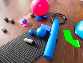 Aerobic Pilates stuff like mat balls roller magic ring