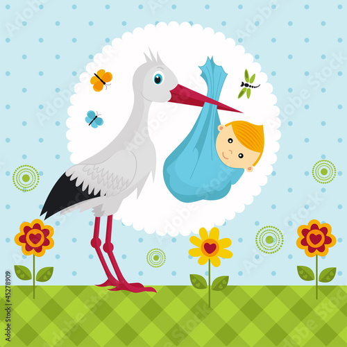 stork with a baby boy in a bag