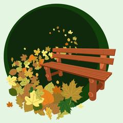 Banco de madera y hojas secas