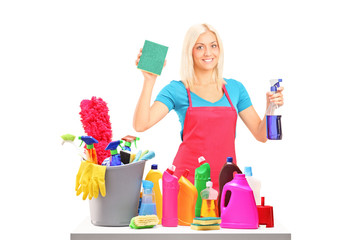 Young female cleaner with cleaning equipment