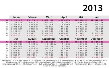 Kalender 2013 Visitenkartenvormat mit Werbefläche