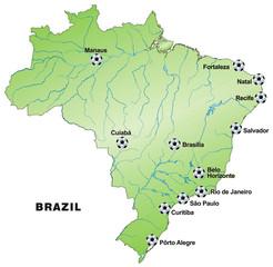 Fussballkarte von Brasilien zur WM 2014