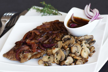 foie de veau à la vénitienne et champignons 2