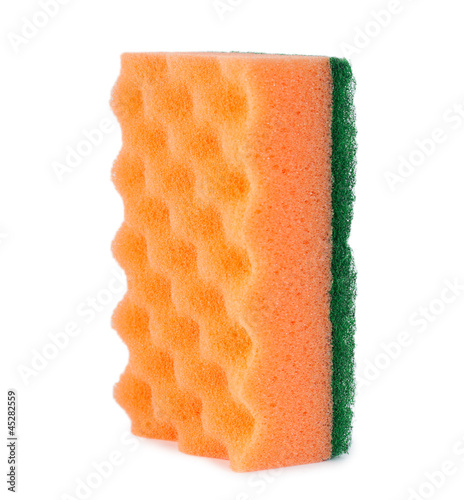 Orange cleaning sponge isolated