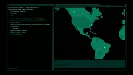 User interface with terminal and animated map, zooming on USA