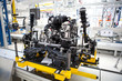 car engine assembled standing on the factory production line