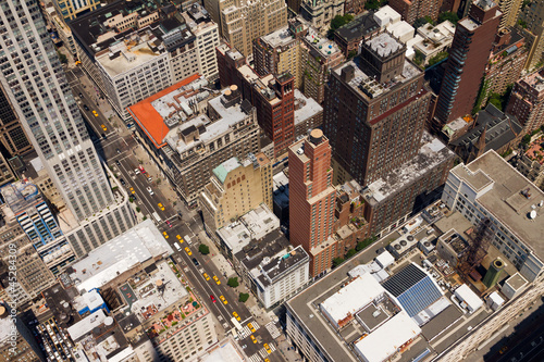 Downtown City Street Birds Eye View New York