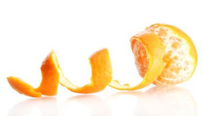 Ripe tasty tangerine with peel isolated on white