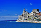 ligurian coast of Italy - Portovenere, view with old church