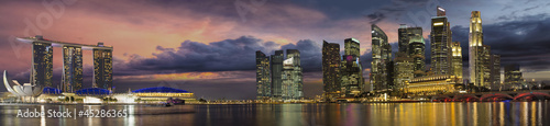 Singapore City Skyline at Sunset Panorama