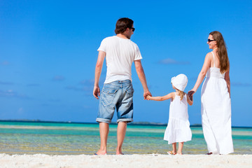 Happy family on tropical vacation