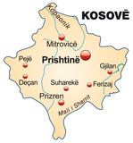 Map of  Kosovo with capitals poster