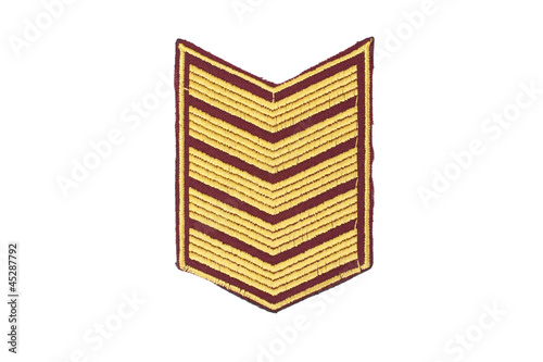 Insignia of military rank isolated on white background.