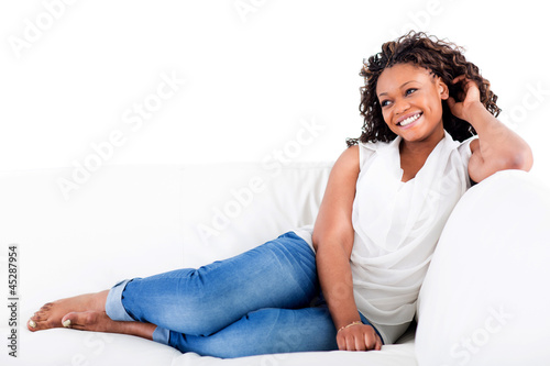 Happy woman relaxing at home