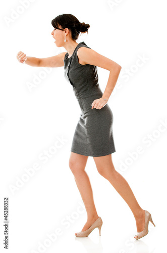 Business woman in a hurry