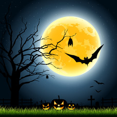 Halloween full moon party at night background