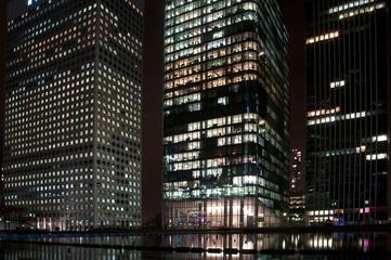 Night scene of important economic center, Paris
