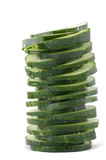 Stacked green cucumber slices