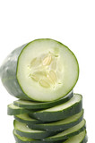 A fresh cucumber with slices