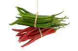 Bunch of green and red chilies- tied by rope