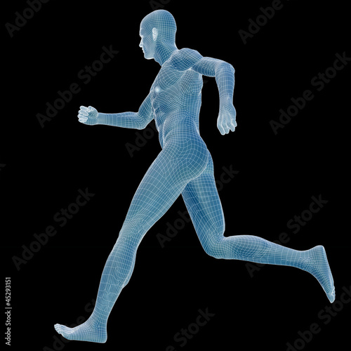 High resolution conceptual 3d man over a black background