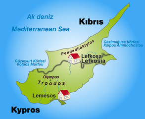 Internetkarte der Insel Zypern