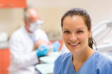 Dental assistant smiling woman friendly nurse