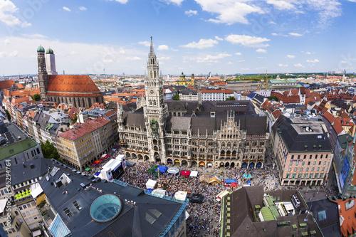 Aerial view of Munchen: Marienplatz, New Town Hall and Frauenkir